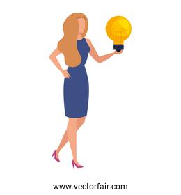 elegant business woman with bulb character