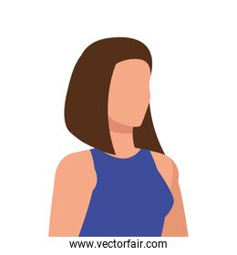 elegant business woman with blue suit avatar character