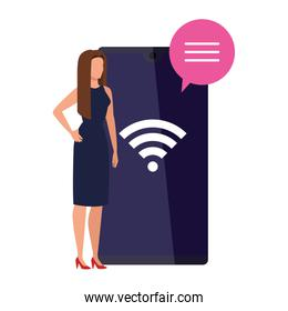 elegant business woman with smartphone and wifi signal