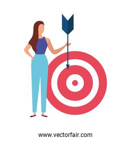 elegant business woman with arrow and target
