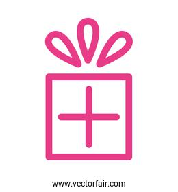 gift box present pink line style icon