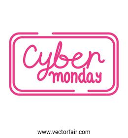 cyber monday sale lettering in square frame