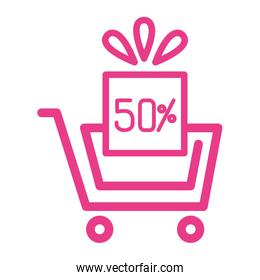 50 percent discount sale label in gift box and shopping cart