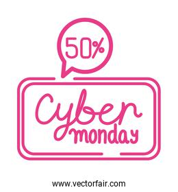 cyber monday sale lettering in square frame and speech bubble