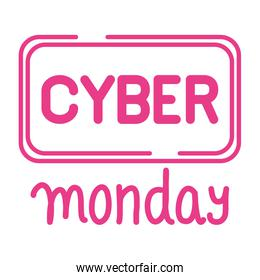 cyber monday sale lettering in square form