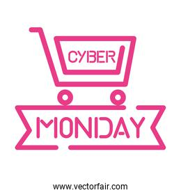 cyber monday sale lettering in shopping cart