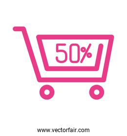 50 percent discount sale label in shopping cart