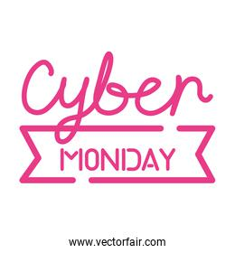 cyber monday sale lettering in ribbon