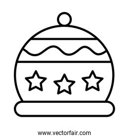 happy merry christmas hat with stars line style icon
