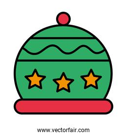 happy merry christmas hat with stars line and fill style icon