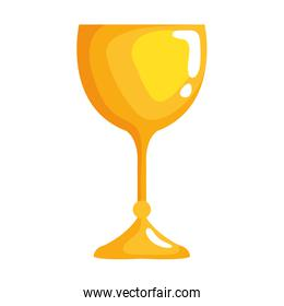 golden chalice cup isolated icon
