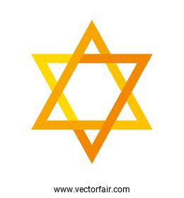 jewish golden star hanukkah sacred symbol, isolated icon