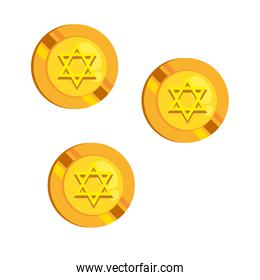 jewish coins with golden star hanukkah