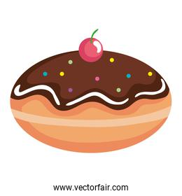 delicious jewish sweet donut with chocolate cream