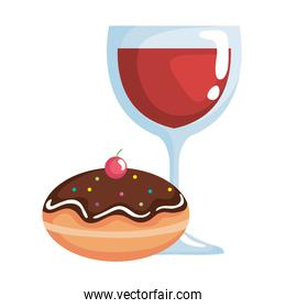 delicious jewish sweet donut with chocolate cream and wine cup