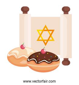 jewish golden star hanukkah in patchment and sweet donuts