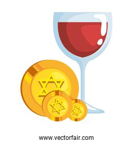 jewish coins with golden star hanukkah with wine cup