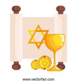 jewish golden star hanukkah in patchment with chalice and coins