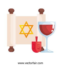 jewish golden star hanukkah in patchment with dreidel and wine cup
