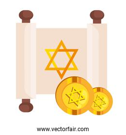 jewish golden star hanukkah in patchment and coins
