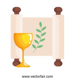 golden chalice cup with patchment roll