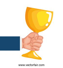 hand lifting golden chalice cup isolated icon