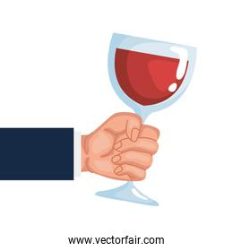 hand lifting crystal wine cup drink icon