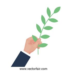 hand lifting branch with leafs plant icon