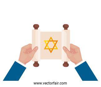 hands lifting jewish golden star hanukkah in patchment