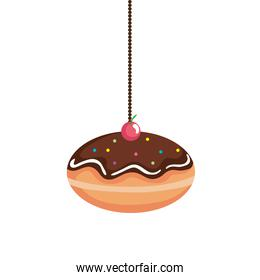 delicious jewish sweet donut with chocolate cream hanging
