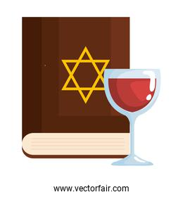 sacred judaism antique book with jewish golden star and wine cup