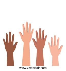 interracial hands humans up protesting
