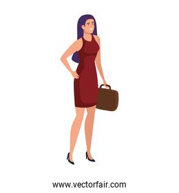 elegant business woman with red suit and portfolio