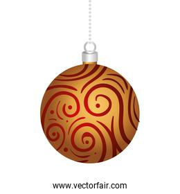 happy merry christmas ball with golden decoration