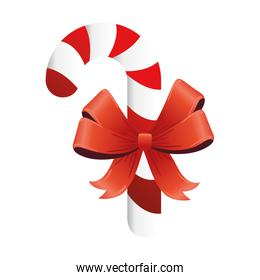 happy merry christmas red ribbon and sweet cane