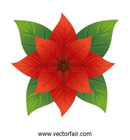 christmas decorative leafs with red flower