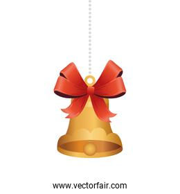golden christmas bell with bow hanging