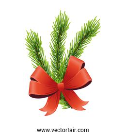 happy merry christmas red ribbon and leafs pine tree