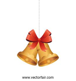 golden christmas bells with ribbon bow hanging