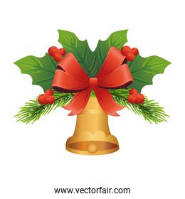 golden christmas bell with bow and leafs