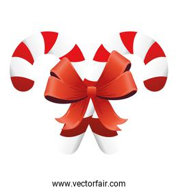 happy merry christmas red ribbon and sweet canes