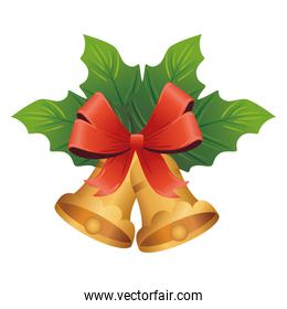 golden christmas bells with leafs plant and bow