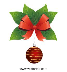 happy merry christmas red ball with golden stripes in leafs