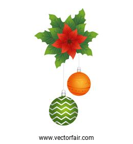 happy merry christmas balls hanging in floral decoration