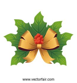 christmas golden bow with leafs decorative