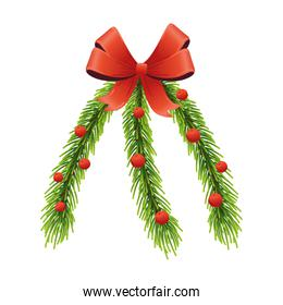 happy merry christmas pine leafs and red ribbon