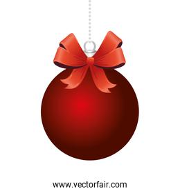 happy merry christmas red ball and ribbon bow
