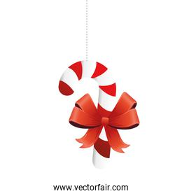 happy merry christmas sweet cane with red ribbon