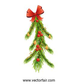 happy merry christmas leafs pine tree and red bow