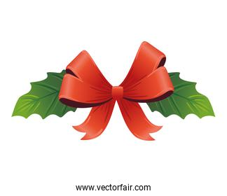 christmas decorative leafs with bow ribbon